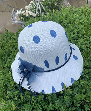 Літня біла жіноча бавовняний капелюх для пляжу з шифоновою квіткою, фото 2