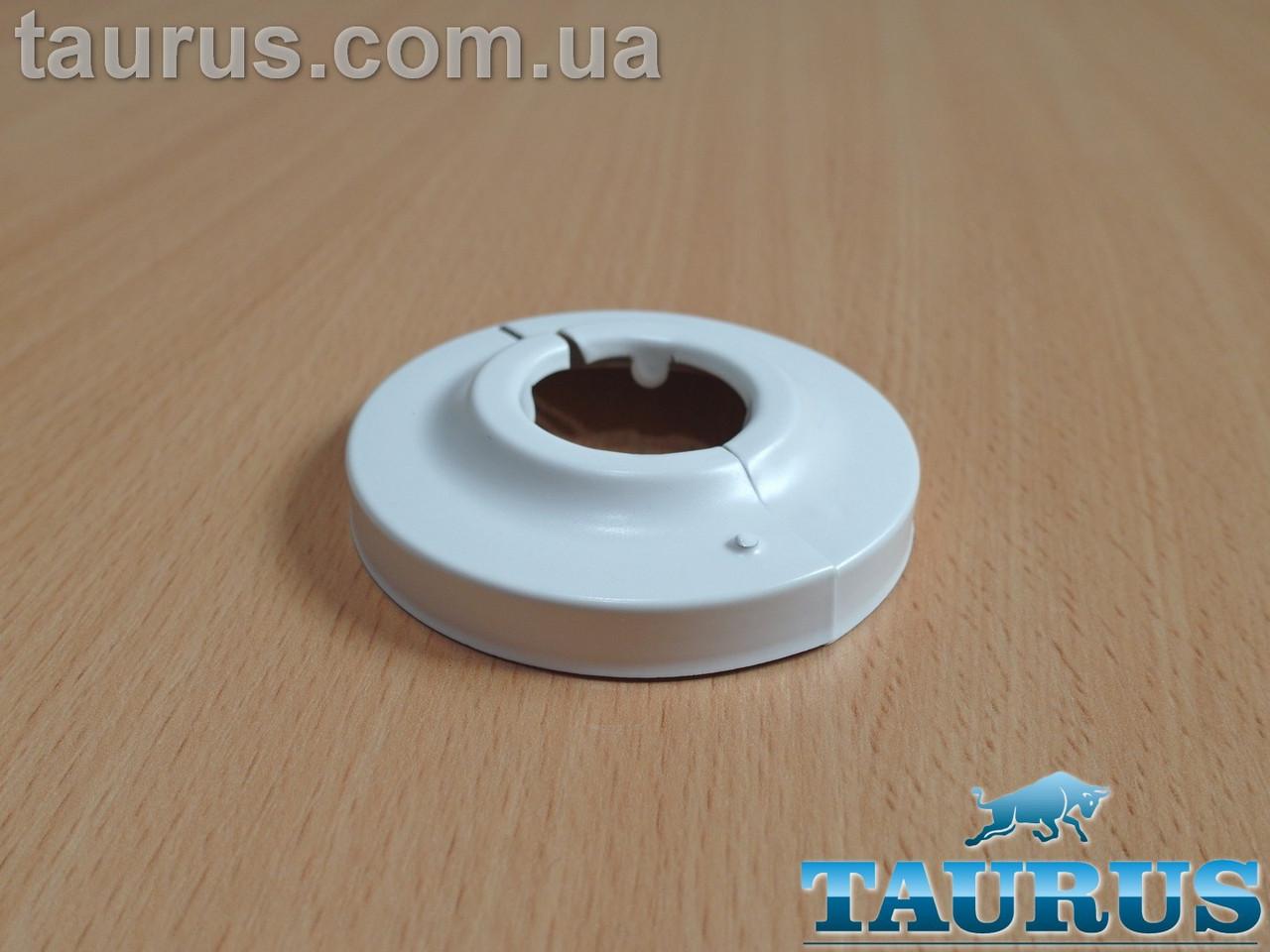 """Білий розбірний декоративний фланець - чашка DUO D65 / висота 15 мм White, внутрішній розмір 3/4"""" d26мм"""