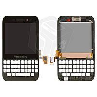 Дисплейный модуль (дисплей + сенсор) Blackberry Q5 с передней панелью, черный, оригинал