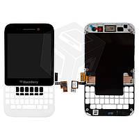 Дисплейный модуль (дисплей + сенсор) Blackberry Q5 с передней панелью, белый, оригинал