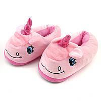 Уценка. Домашние тапочки игрушки розовые Единороги,36-39