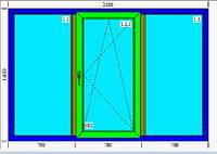 Тройное окно металлопластик KBE 2100х1400