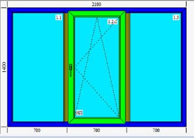 Тройное металлопластиковое окно KBE 2100х1400