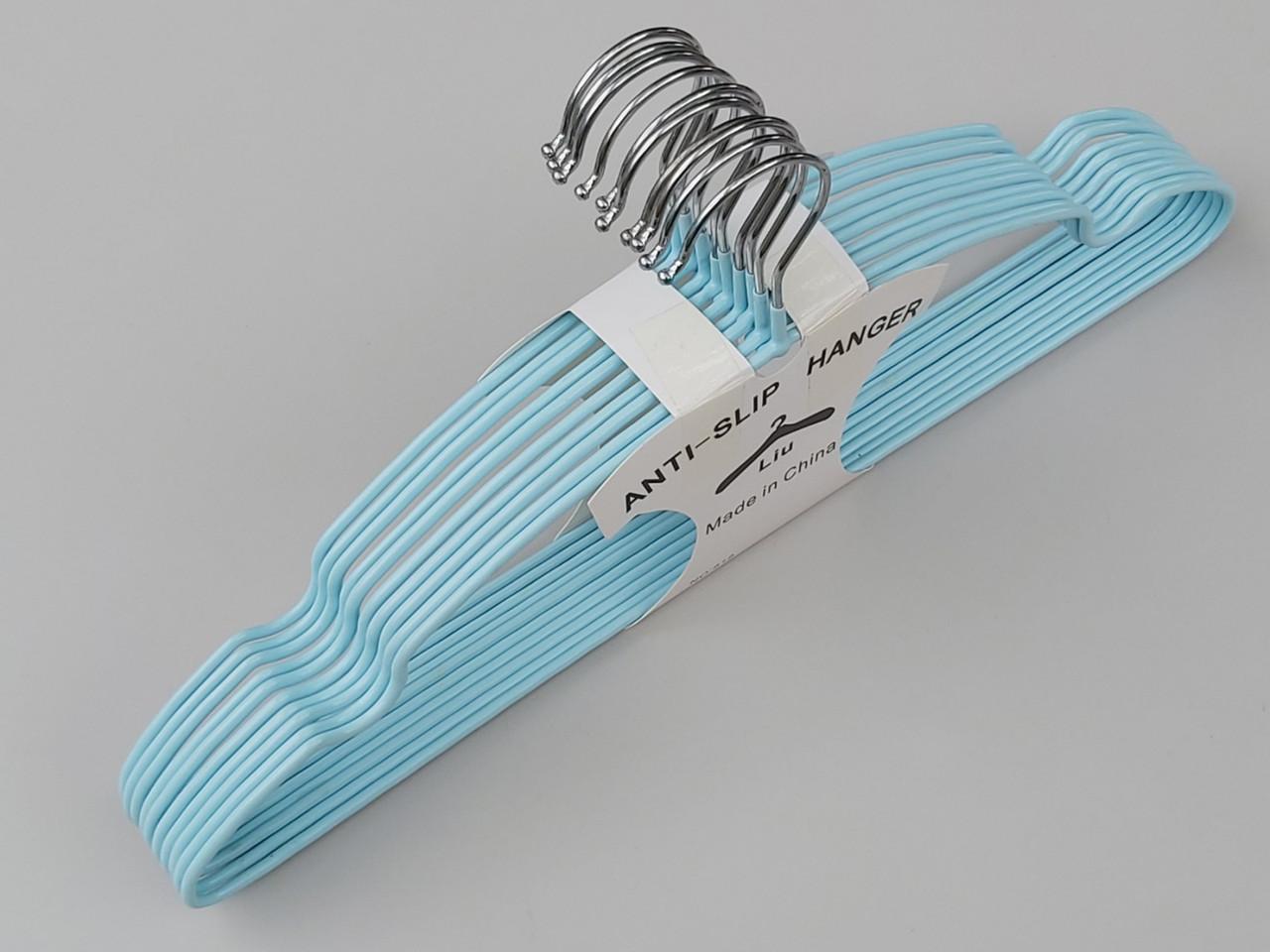 Плечики металеві в силіконовому покритті бірюзового кольору, 40 см, 10 штук в упаковці