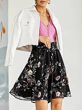 Шифоновая юбка-мини с принтом  ЛЕТО