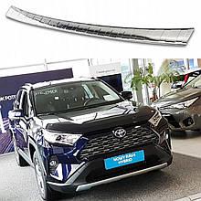 Защитная накладка на задний бампер для Toyota RAV-4 2018+ /нерж.сталь/