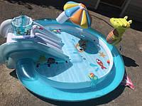Дитячий надувний басейн ігровий центр Intex 57165 Крокодил c фонтаном, надувний круг, 201х170х84 см