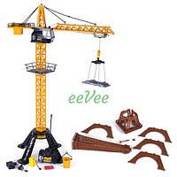 Подъемный кран на радиоуправлении башенный большой 90 см игрушка детская Желтый (29424)