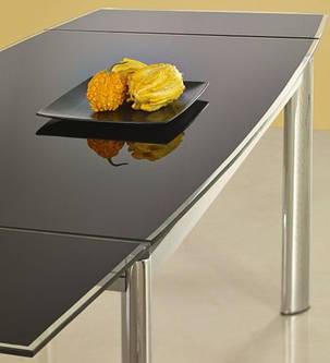 Стол стеклянный обеденный Lambert хром черный (Halmar ТМ), фото 2