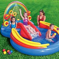 Детский надувной игровой центр бассейн Intex 57453 Радуга, с горкой, мячики, 297х193х135 см