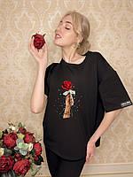 Модная черная футболка женская с принтом F-01R M