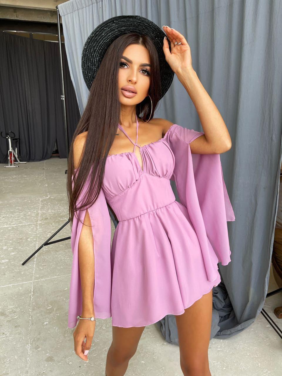 Фиолетовый шифоновый ромпер с открытыми плечами и расклешенными рукавами Purple
