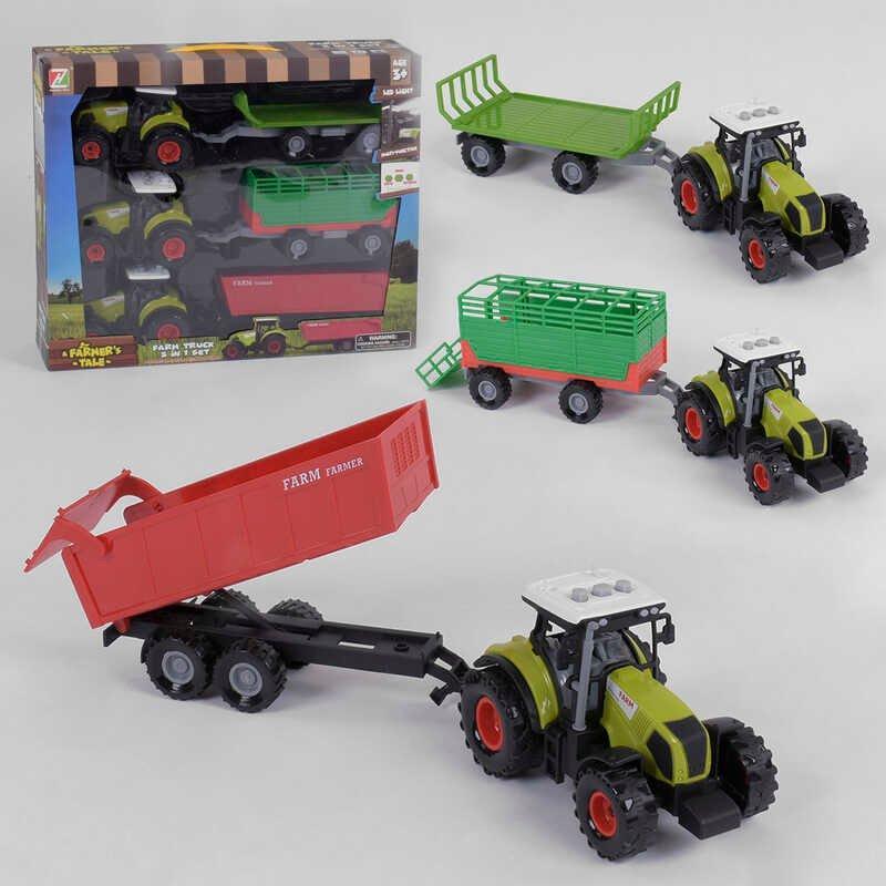 Набір тракторів 550-21 E (24/2) світло, звук, інерція, 3 шт. в коробці