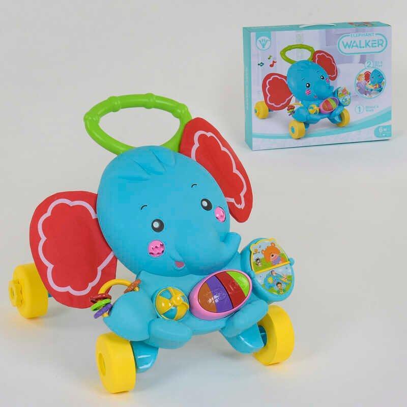 """Каталка-ходунки музична """"Слон"""" HY 68112 (12) підсвічування, звуки, мелодії, в коробці"""