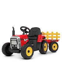 Дитячий електромобіль-Трактор з причепом M 4479EBLR-3, 2 мотора, шкір сидіння, червоний