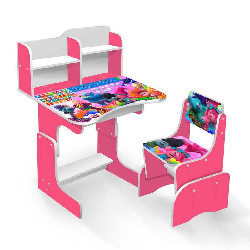 """Гр шкільна Парта """"Тролі 2"""" ЛДСП ПШ 005 (1) 69*45 див., колір малиновий, + 1 стілець, з пеналом"""