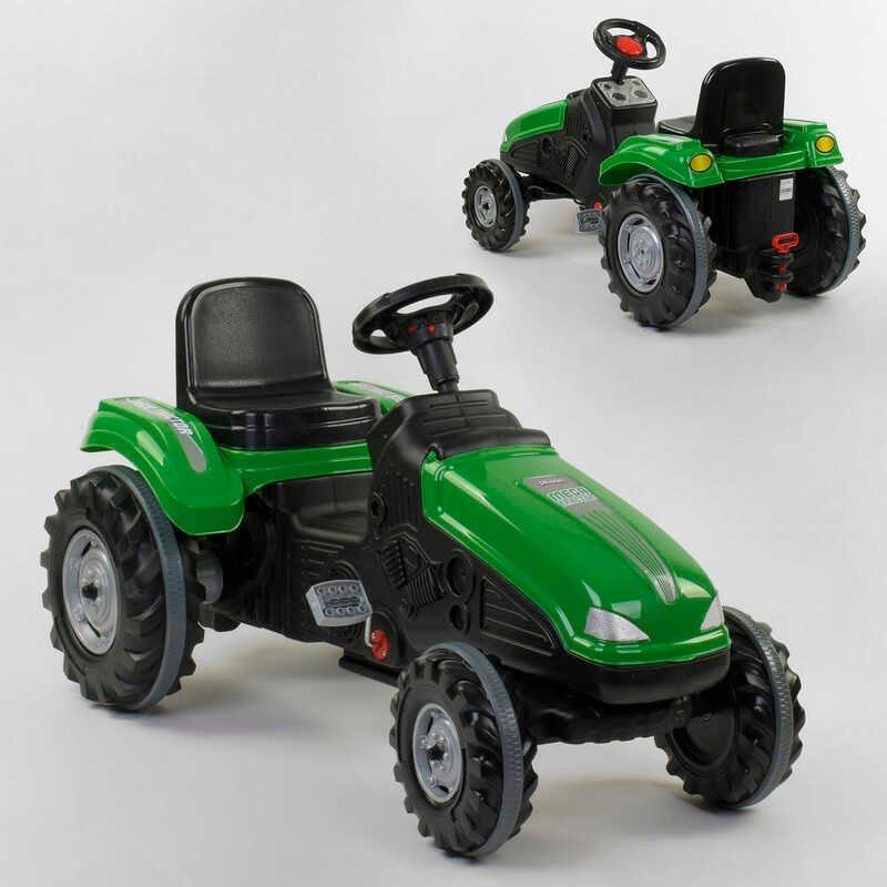 Педальний Трактор 07-321 GREEN (1) клаксон на кермі, регульоване сидіння, колеса з гумовими накладками, в