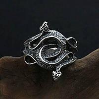 Чоловіче кільце з подвійною змією в готичному стилі Біжутерія у вигляді змії