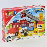 """Конструктор JDLT 5152 (12/2) """"Пожарная машина"""", 36 деталей, 2 фигурки, свет, звук, в коробке"""