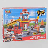 """Конструктор JDLT 5418 (12/2) """"Пожарная станция"""", 85 деталей, свет, звук, в коробке"""