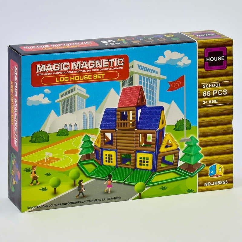 """Конструктор магнітний JH 8853 (48) """"Школа"""", 66 деталей, в коробці"""