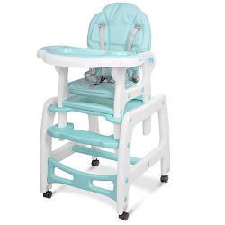 Стільчик M 1563-12-1 (1шт) для годування, 2в1 (столик зі стільчиком), гойдалка, колеса 4шт, блакитний