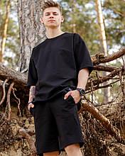 Мужской летний комплект Oversize футболка + шорты, чёрный