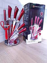 Набір ножів Edenberg EB-3616 з овочечисткою і мусатов на підставці, що обертається 9 предметів Червоний