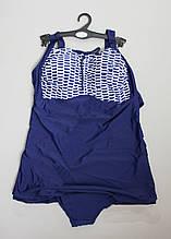 Спокойный женский слитный купальник с оригинальной принтом на груди р. 52--60