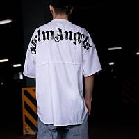 Мужская футболка белая Palm Angels, Спортивная белая футболка Palm Angels