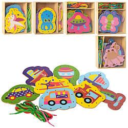Дерев'яна іграшка Шнуровка MD 2352 (60шт) 6відов, в кор-ке, в кульку, 17-17-3см
