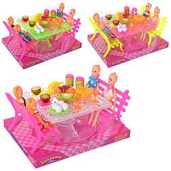 Їдальня A8-726 (60шт) лялька 10см, стіл, лавки, продукти, в слюди, мікс видів, 22,5-17-13,5см