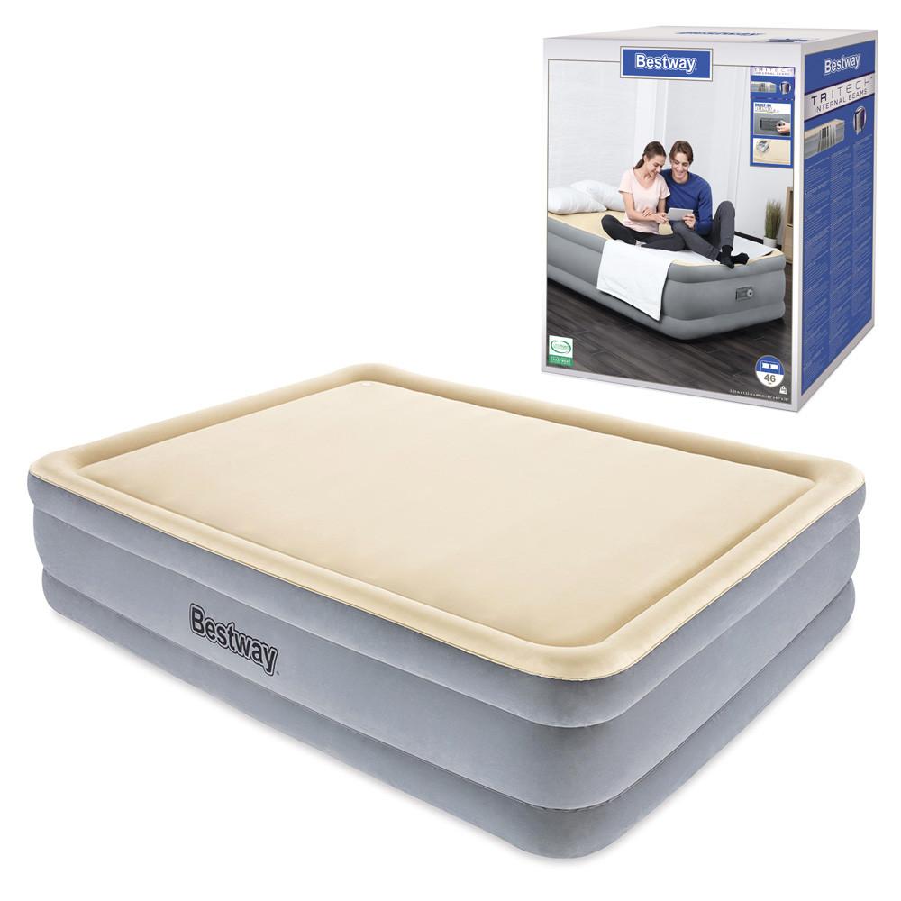 Велюр кровать 67486  встроенный насос 220V, дорожная сумка, 203-152-46см