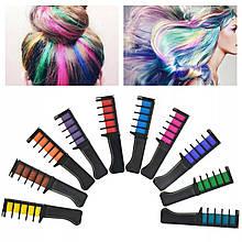 Набор расчесок с цветными мелками для волос. В наборе 10 цветов мелков