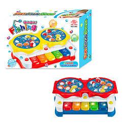 Рыбалка 385  2в1(пианино), игровое поле(вращ),муз(англ),свет,2цв, на бат,в кор-ке, 29-20-7,5см