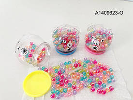 Бисер CY521B  бусины, в колбе с крышкой(мишка), 6см, микс цветов, в кульке, 14-12-6см