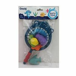 Іграшка G401-3 (80шт) для купання, акула-сачок28см, морські мешканці 4шт-от7см, в кульку, 20-32-6см