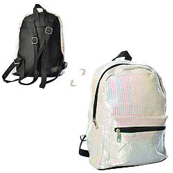 Рюкзак 2824-2  1отд.застежка-молния,3внутр.и 1наруж.карманы,пайетки,в кульке,27-21-12см
