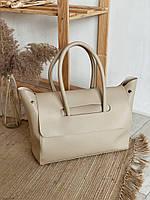 Сумка женская модная современная сумка женская вместительная бежевая шоппер