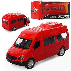 Автобус AS-2340 (48шт) АвтоСвіт, метал, 12см, открив.двері, резін.колеса, в кор-ке, 16.5-7-7см