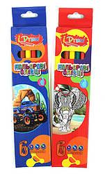 """Олівці кольорові, 6 кольорів, пластикові, """"i Draw"""""""