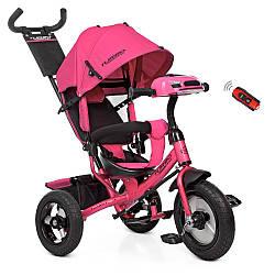 Велосипед M 3115-6HA (1шт) три кол.рез (12/10), колясоч.USB / BT, світло, своб.ход кол, торм, подшип, рожевий