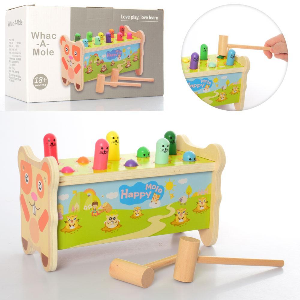 Деревянная игрушка Стучалка MD 2810  молотолчек 2шт, фигурки, в кор-ке, 26-15,5-13см