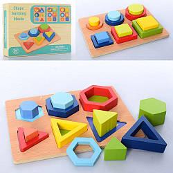 Дерев'яна іграшка Геометричний MD 2830 (40шт) фігури 12шт, 2віда, в кор-ке, 24-19-4см