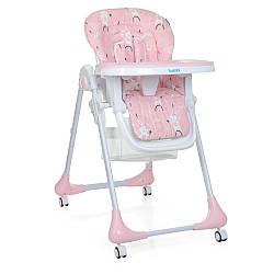 Стільчик M 3233 Rabbit Girl Pink (1шт) для годування, 5точ.ремні, столик видві. 4колеса, зайчик, роз