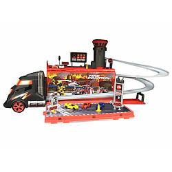 Гараж S8610C  пожарн, складывается в трейлер,зв,св,машинки(металл),бат,в кор-ке,68-21-19см