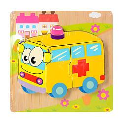 Дерев'яна іграшка Пазли 15X15-7 (48шт) швидка допомога, в кульку, 14,5-14,5-1,5см