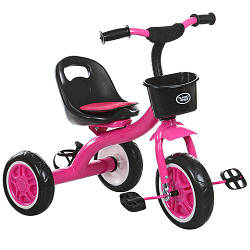Велосипед M 3197-6 (2шт) три кол.EVA, передн.корзінка, пляшка, наклака на сидіння, рожевий