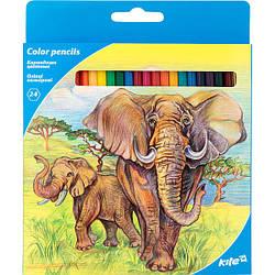 """Олівці кольорові, 24 шт. Kite """"Тварини"""""""