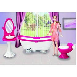 Меблі 3013 (18шт) ванна кімната, ванна 25см, умивальник, унітаз, в кор-ке, 25,5-15-10см